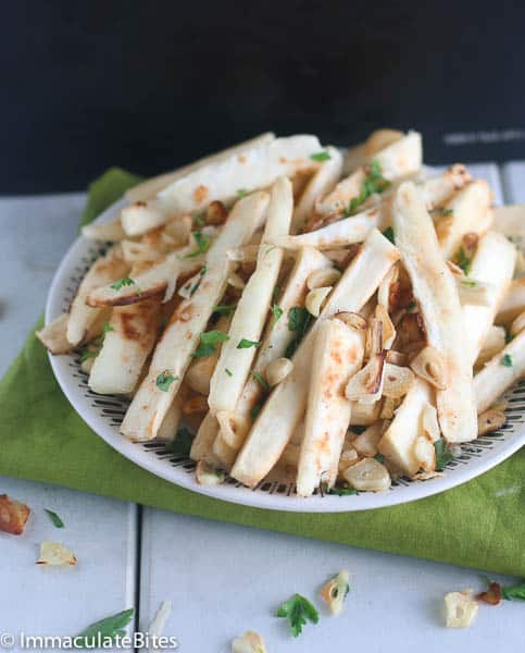 Baked Crispy Cassava Fries(Yuca Fries) - Immaculate Bites