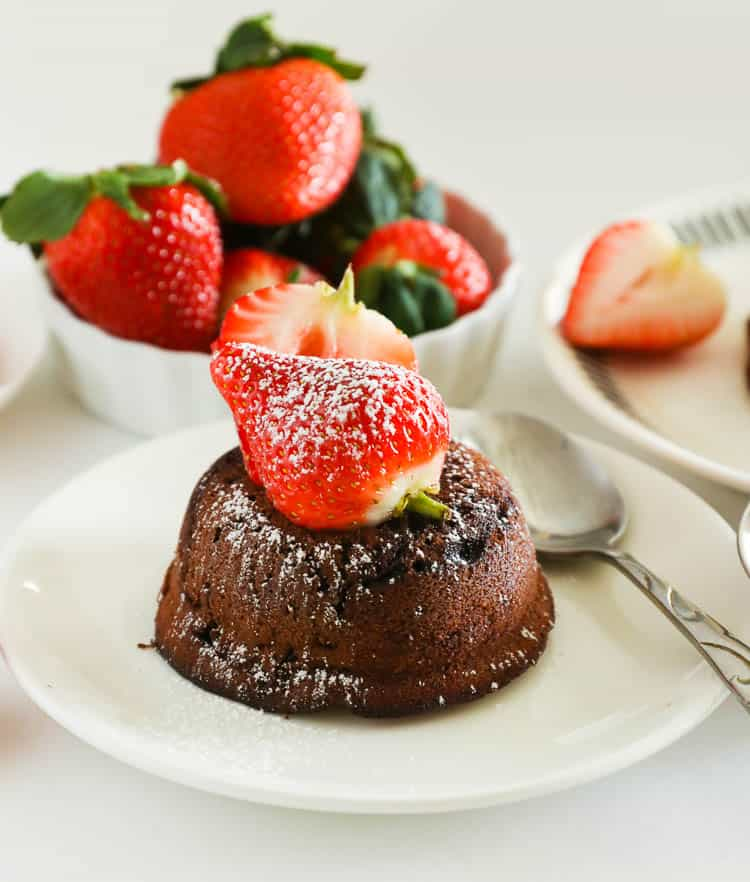 Chocolate Lava Cake topped with a Strawberry