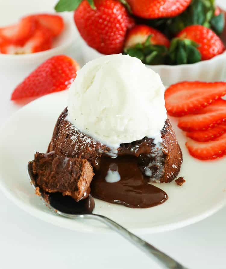Chocolate Lava Cake topped with Vanilla Ice Cream