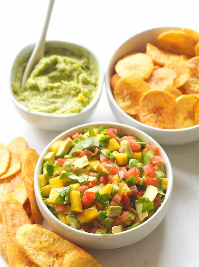 Plantain chips with sweet tango mango avocado salsa