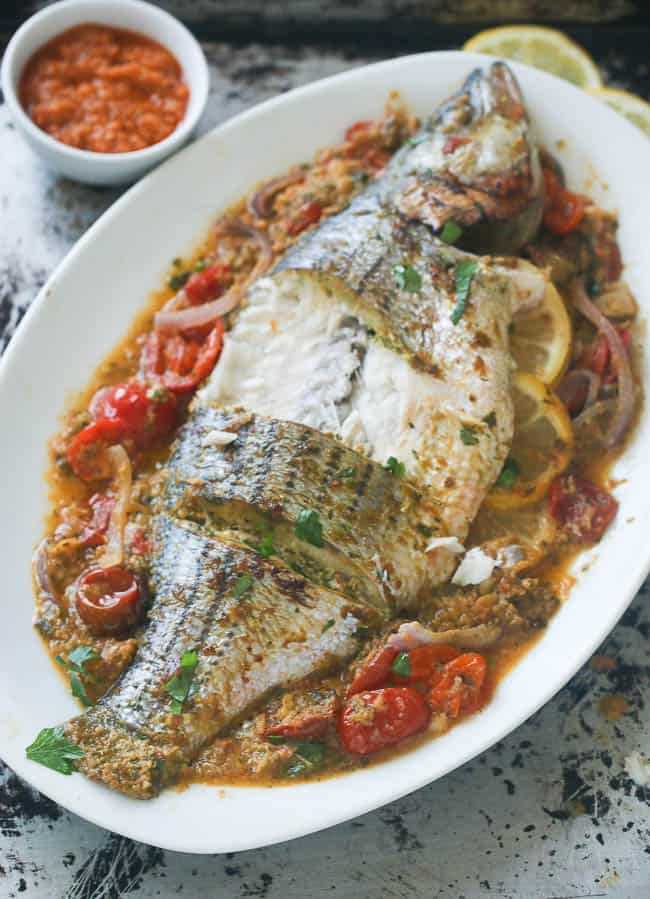 Whole Baked Sea Bass