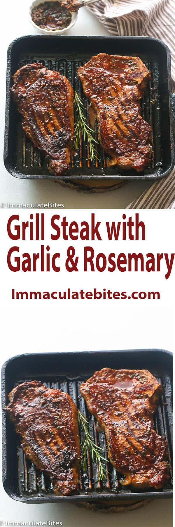 Grill steak with garlic and rosemary