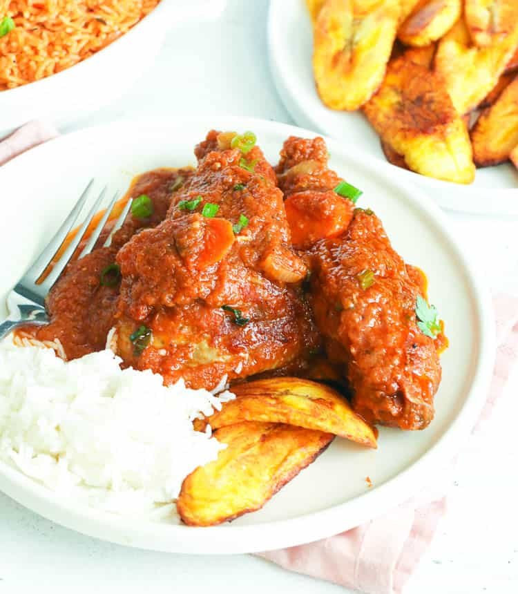 Chicken Stew with rice and plantains