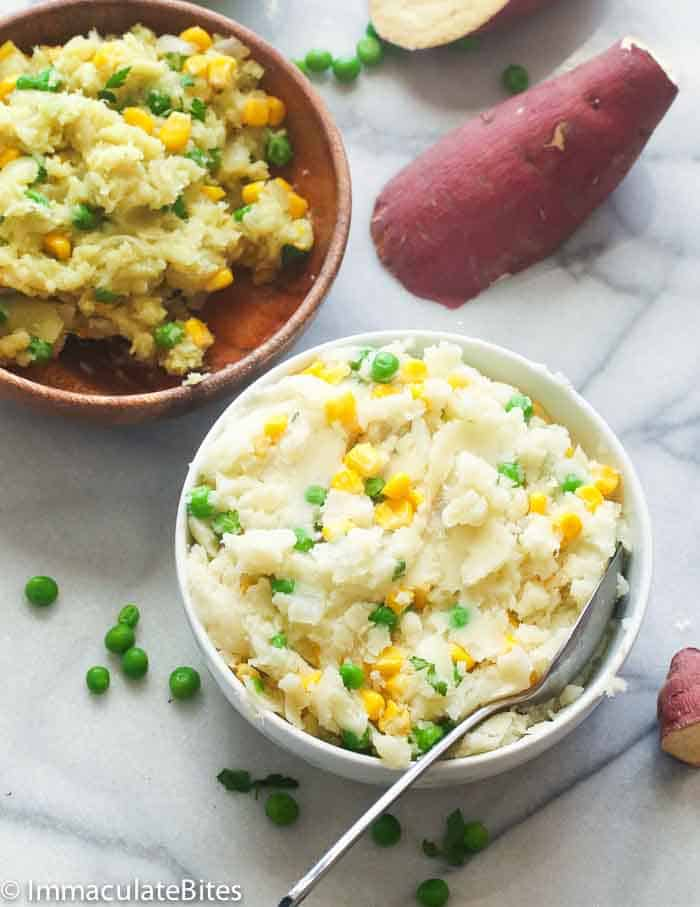 Mashed Sweet Potato Recipe With Peas And Corn Irio