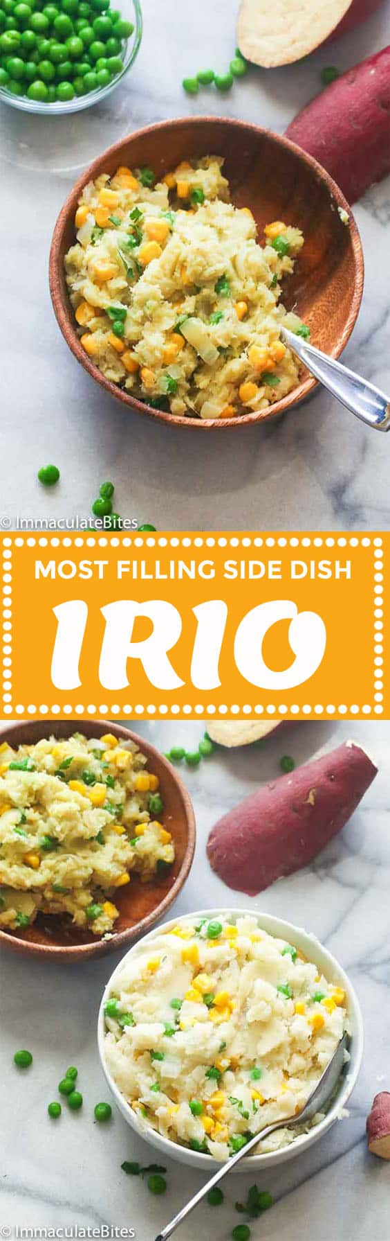 Irio (Mashed Sweet Potatoes with peas and corn)