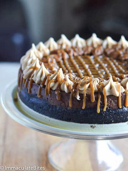 Chocolate caramel pecan cheese cake