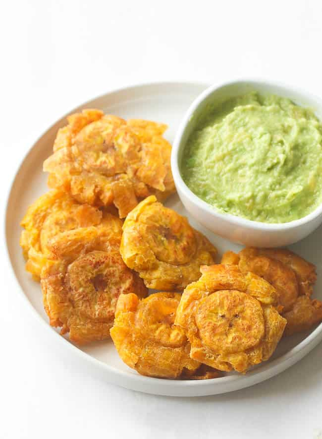 Tostones with guacamole on the side