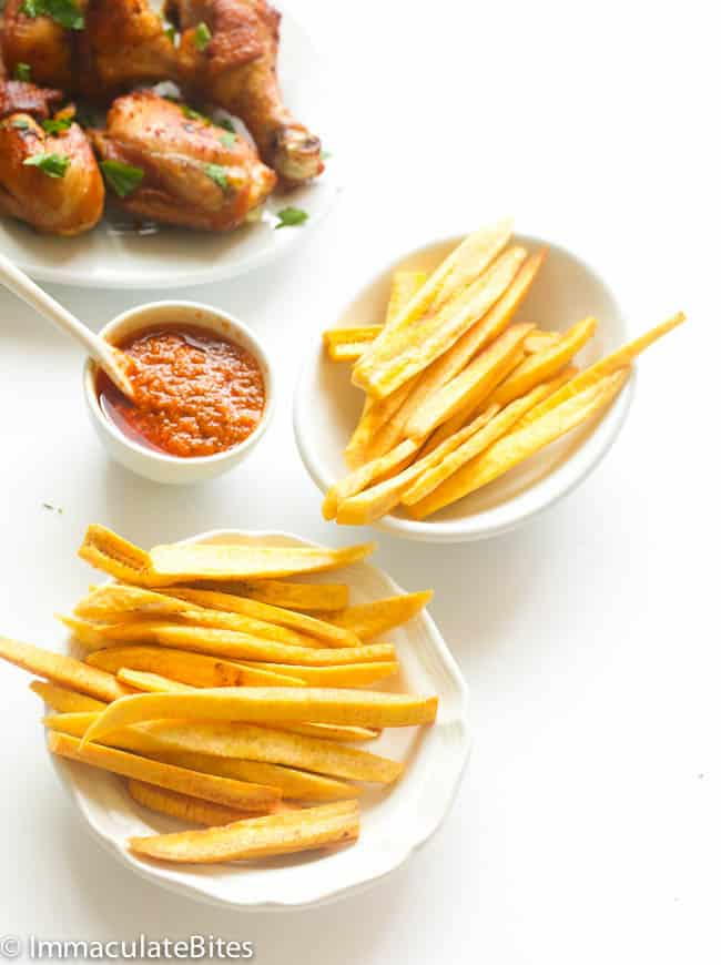 African Fried Chicken and plantain Fries