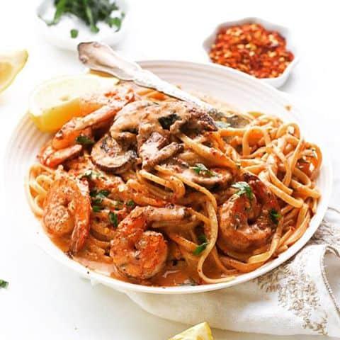 Creamy jerk shrimp spaghetti 0ne pot meal filled with mushroomshellip
