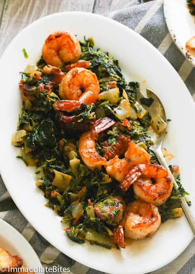 African Stewed Spinach with Shrimp