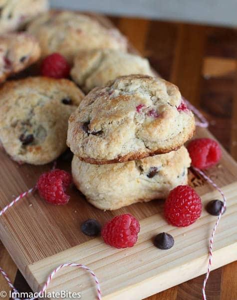 Chocolate raspberry scones