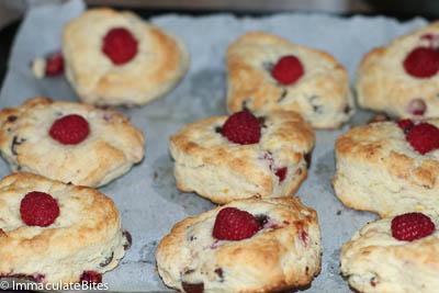 Raspberry chocolate scones