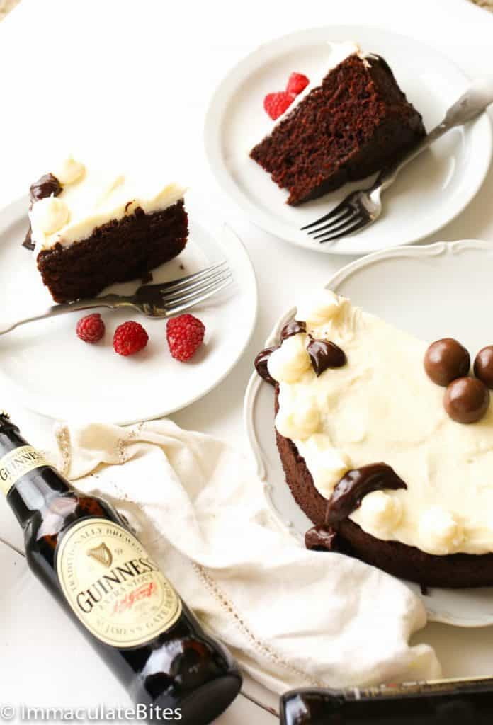 Guinness Chocolate cake with Baileys cream frosting
