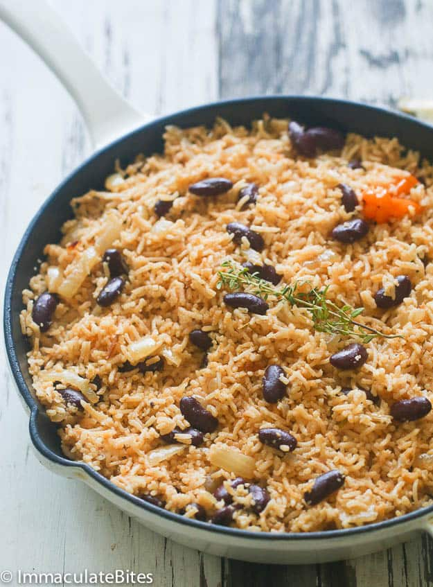 Caribbean Rice and Beans in a pan