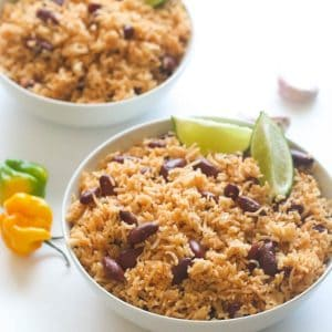 2 bowls of flavored rice with beans