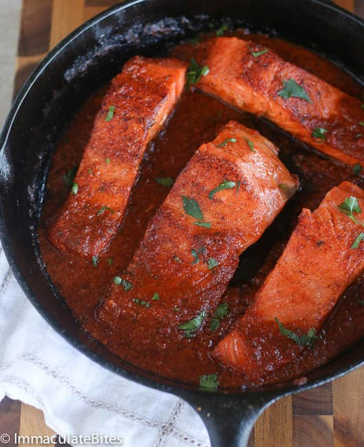 like to use skin-on salmon it helps keep the salmon, moist, in tact ...