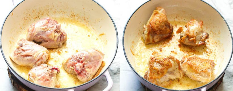 Frying the Chicken in Easy Cassoulet