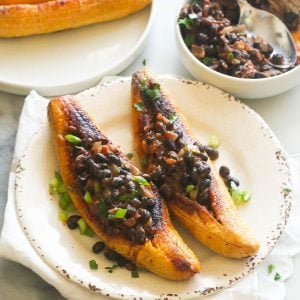 Baked Stuffed Plantains and Black Beans