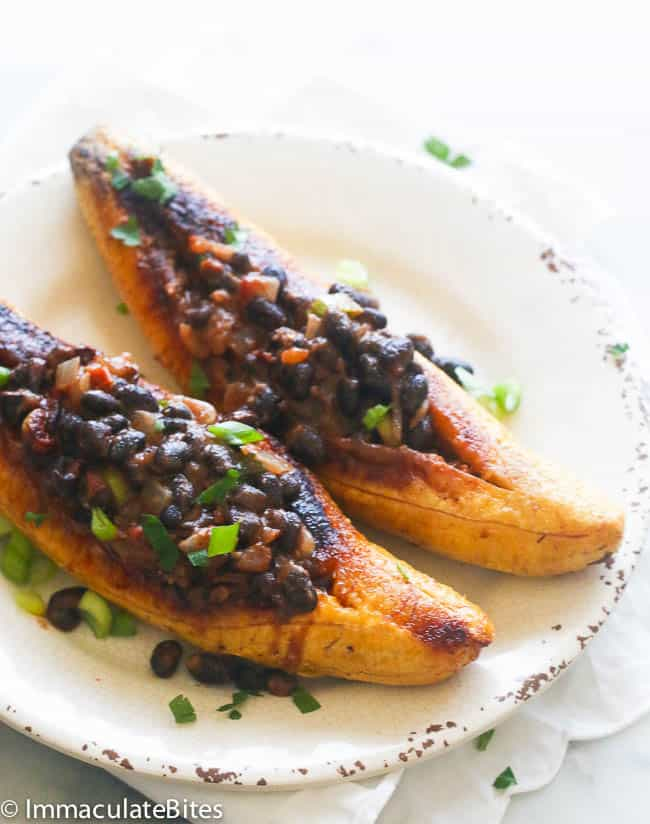 Stuffed Plantains with black beans
