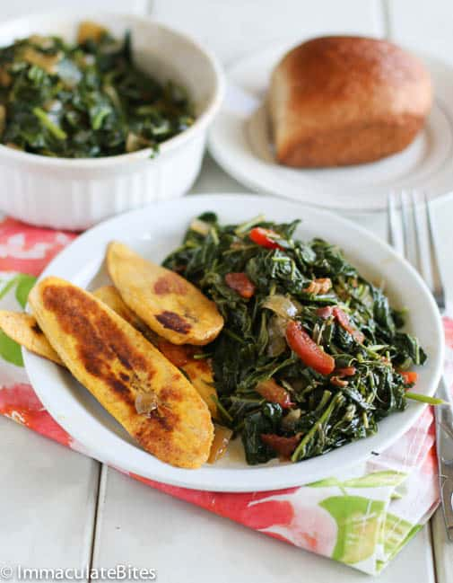 Callaloo Jamaican Style served with fried plantains