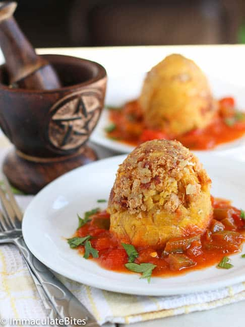Mofongo with shrimp sauce