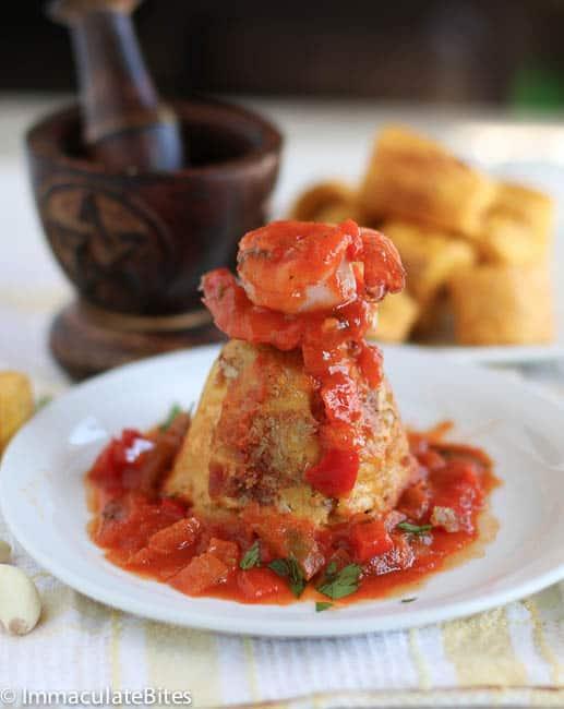 Mofongo with shrimp sauce