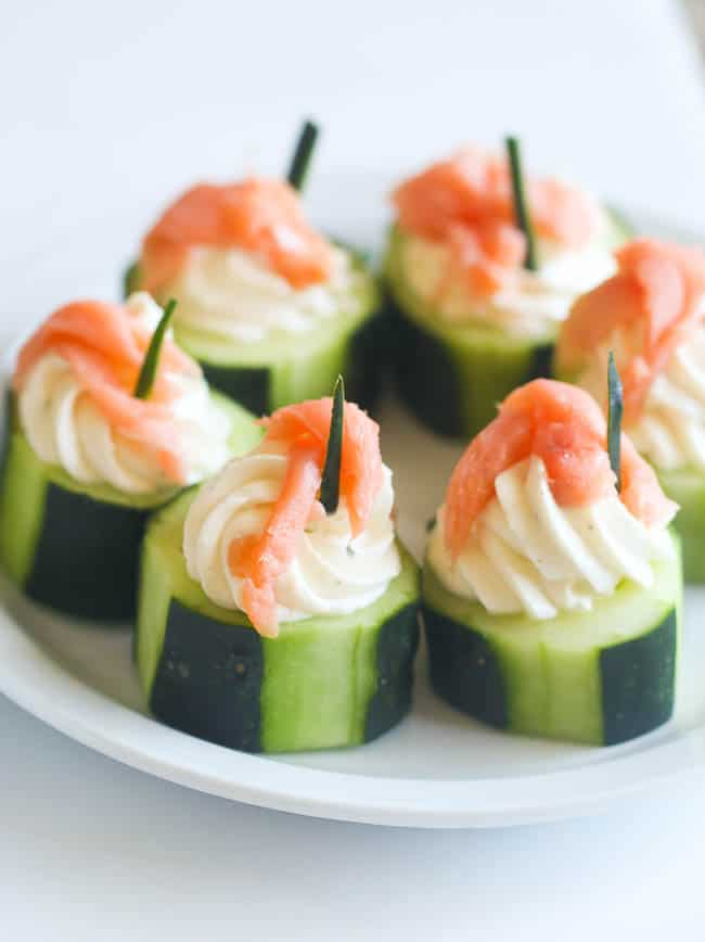 Cucumber salmon cream cheese appetizer immaculate bites for Canape fillings