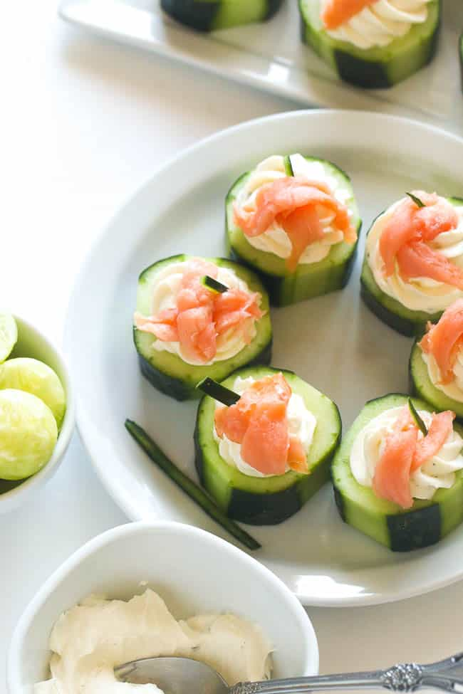 Cucumber salmon cream cheese appetizer for Some canape picks
