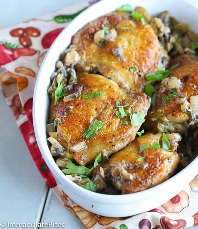 Chicken Thigh With Mushroom Garlic Sauce