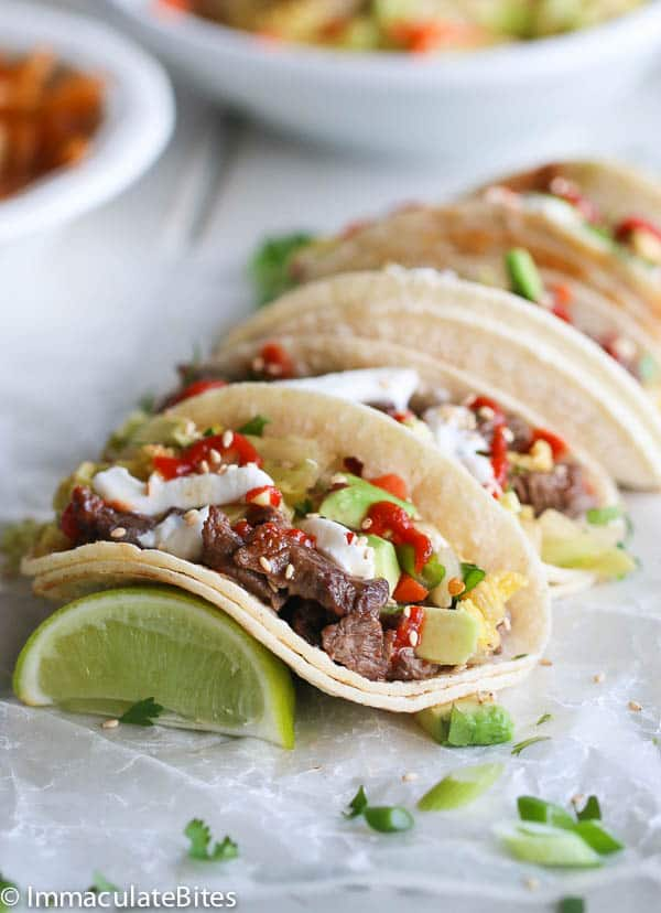 Korean Beef Tacos and Quick Kimchi