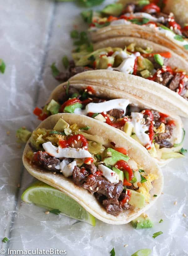 Korean Beef Tacos and Quick Kimchi