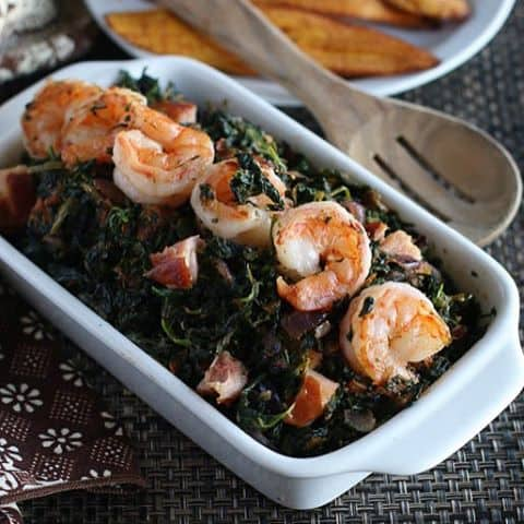 Spinach African style WestAfricanstewedspinachfoodbloggercavemansdietpaleoshrimpfoodphographyafriqueafricanfood On the blog immaculatebitescom