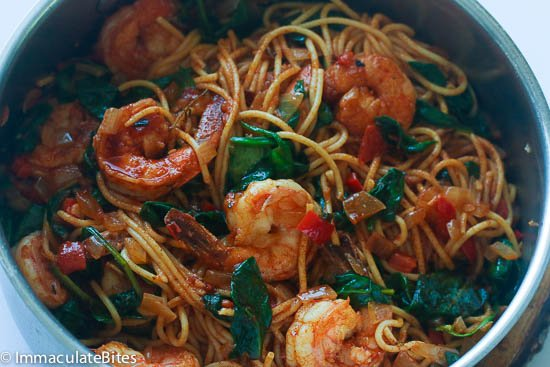 Pasta shrimp spinach tomatoes
