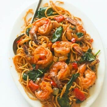 Spicy Shrimp tomato spinach pasta
