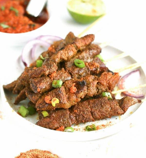 Curry Beef Satay skewers