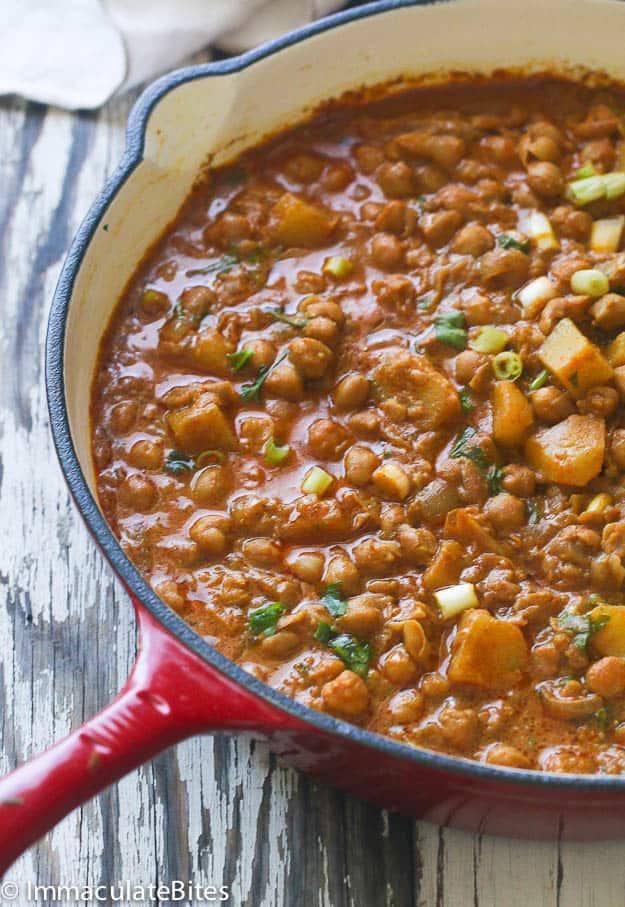 channa curry and Aloo
