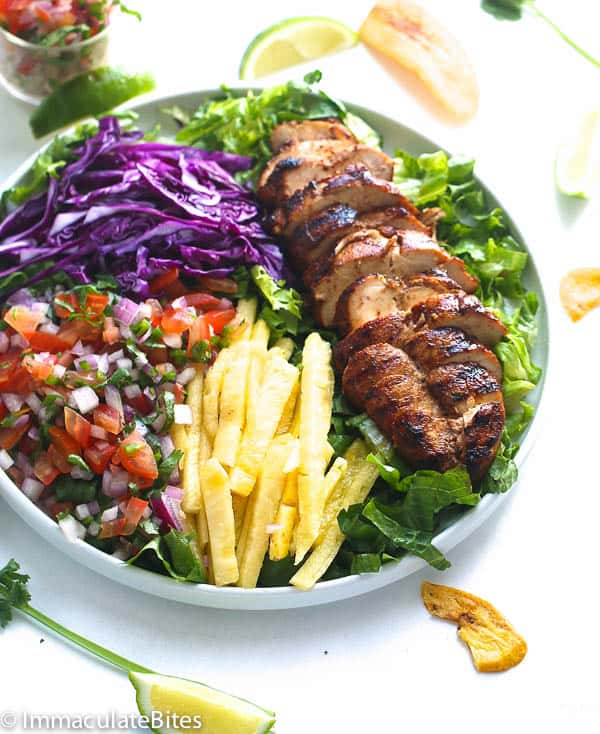 A Plate of Colorful Caribbean Grill Chicken Salad