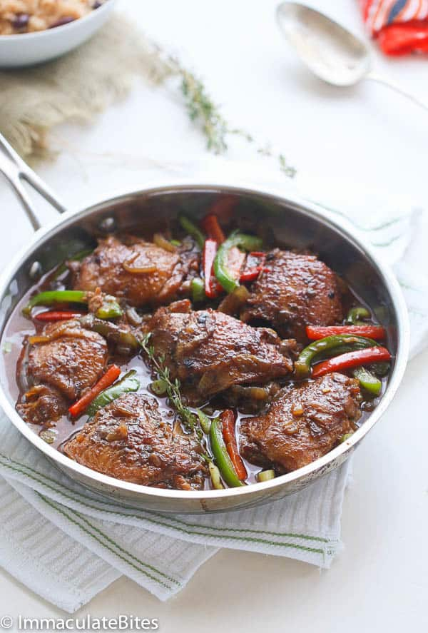 Slow Cooker Jamaican Brown Stew Chicken - Immaculate Bites