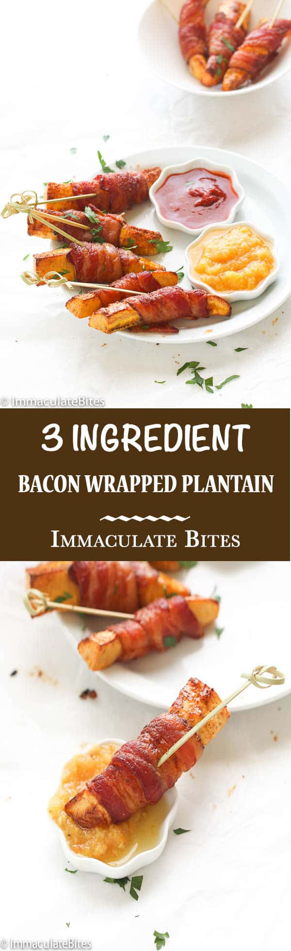 acon wrapped plantain- Plantain with a touch of heat, wrapped with bacon and sprinkled with spice. Easy, yet delicious appetizer, snack and/or breakfast.