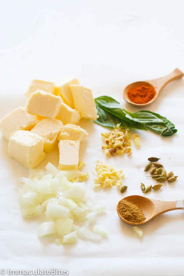 The butter is brought to simmer, together with spices and left to cook ...