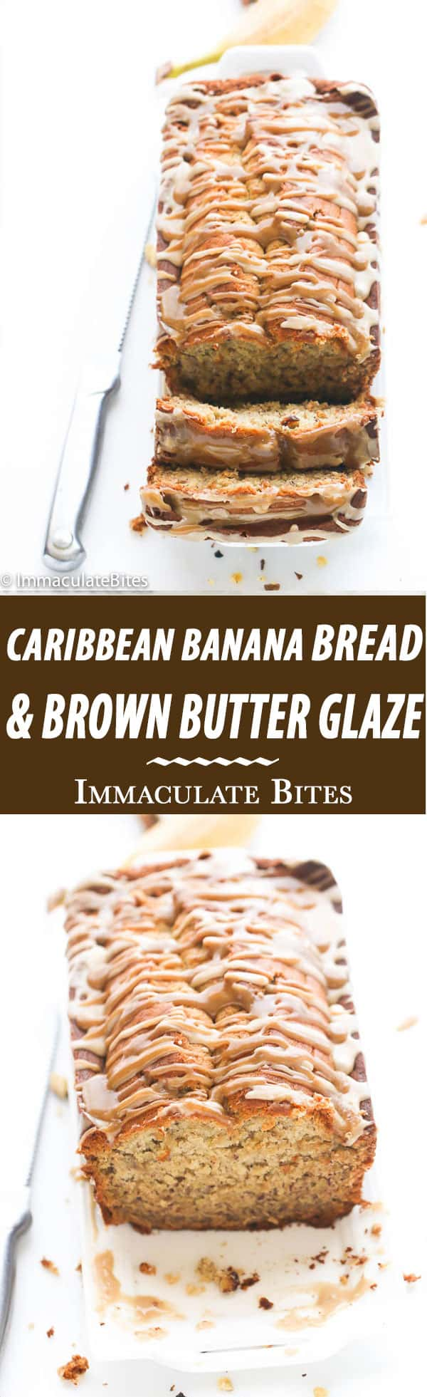 Tender and moist Caribbean Banana Nut Bread  smothered in a buttery brown sugar glaze