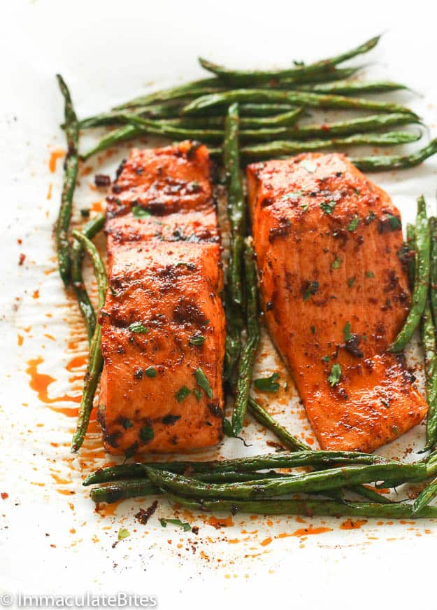 Paprika Salmon and green beans