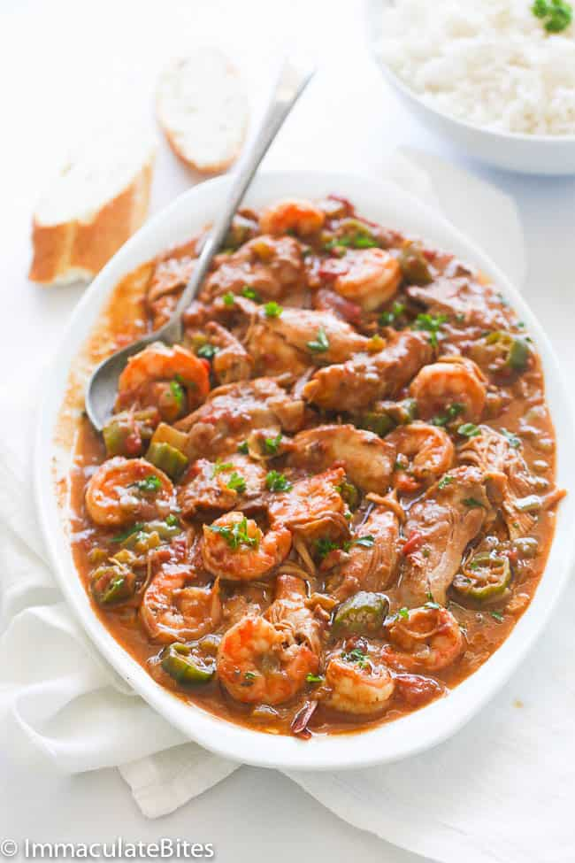 Chicken Shrimp and Okra Gumbo - Immaculate Bites