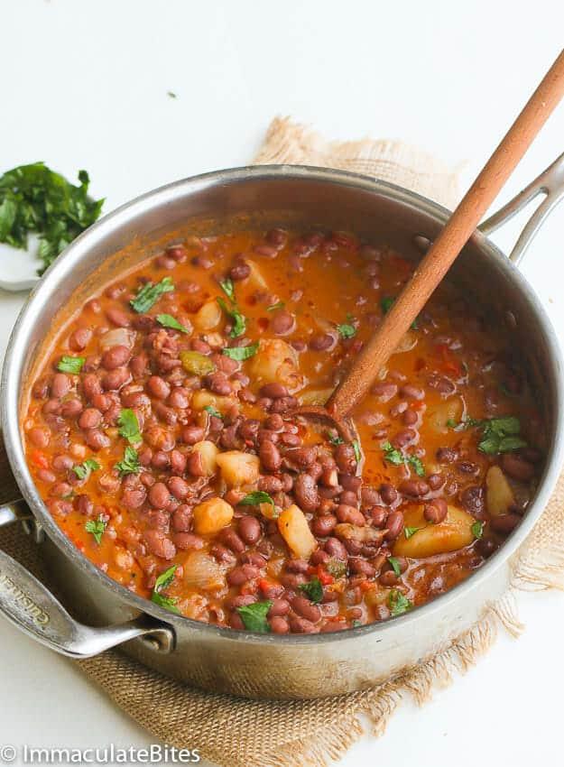 A pot of Puerto Rican Beans
