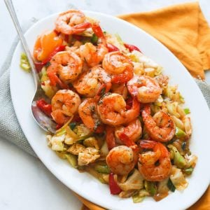 A platter of Jamaican Cabbage and Shrimp