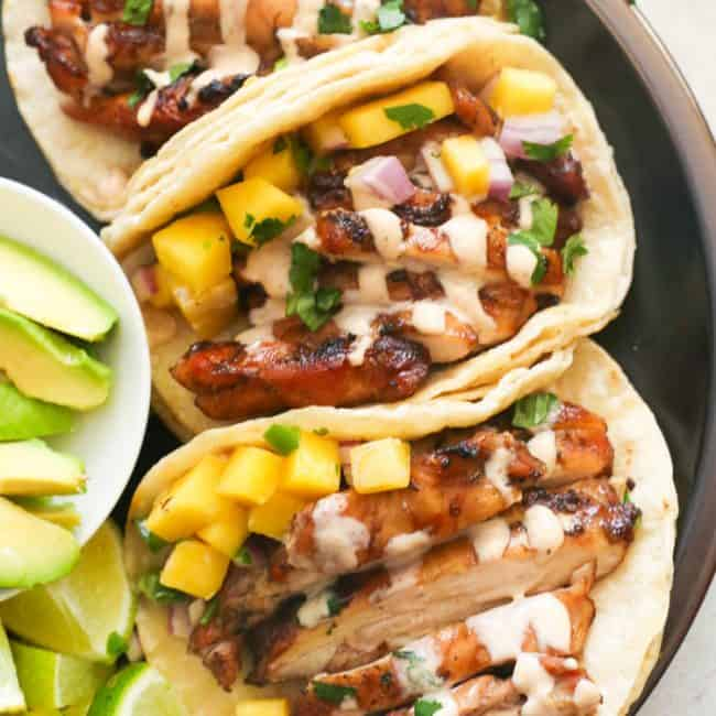 Grill Jerk Chicken Tacos Served on a Plate