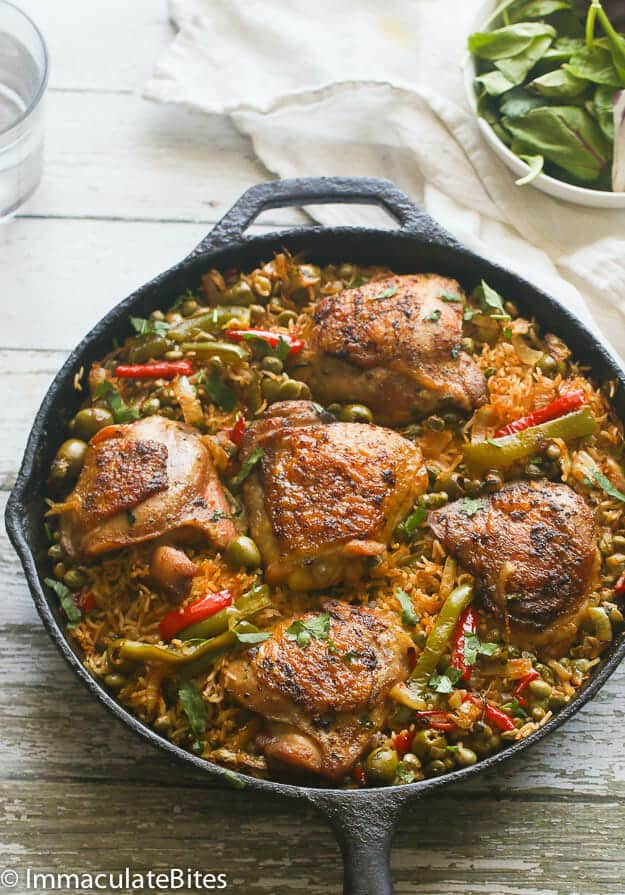 One Pot Puerto Rican Chicken and Rice