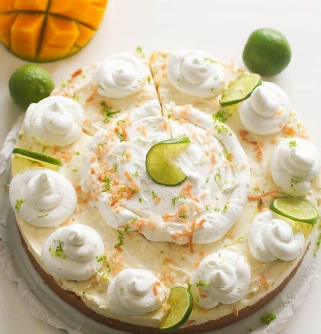 No Bake Key Lime Mango Coconut Pie