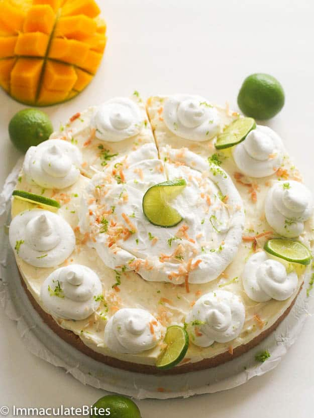 No Bake Key Lime Mango Coconut Pie