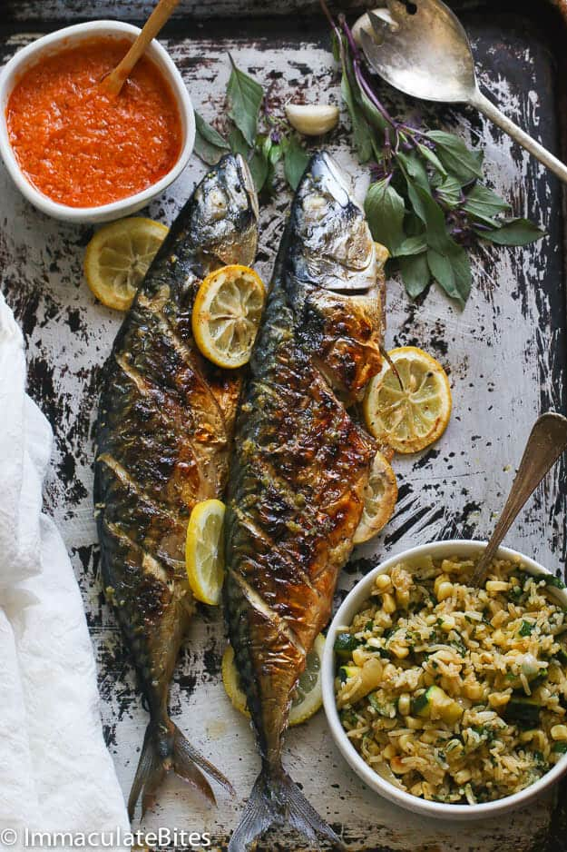 whole grilled mackerel